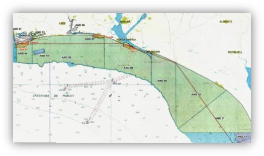Mapa con puertos de Isla Cristina, P. Umbría y Sanlúcar de Barrameda